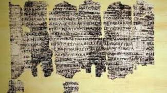 """<img src=""""Jacinto Choza alt=""""Papiro de Derveni, datado en el s. IV a. C."""">"""