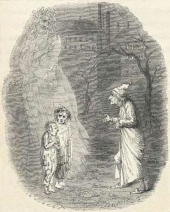 """Ebenezer Scrooge se encuentra con la """"Ignorancia"""" y la """"Miseria"""" en Cuento de Navidad"""