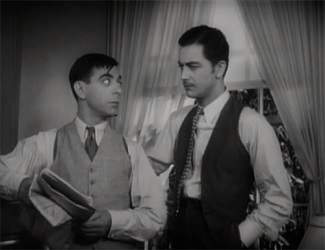 Eddie Cantor habla con Robert Young en una escena de The Kid from Spain, filme dirigido por Leo McCarey en 1932